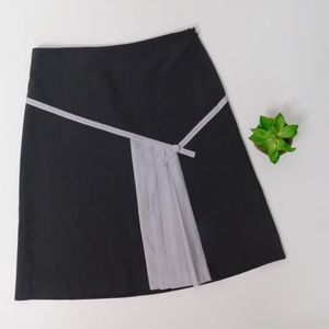 ELEVENSES Sz 8 Charcoal A-Line Skirt Stripe Pleats